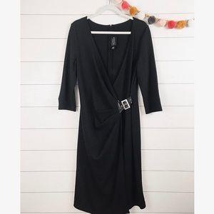 St. John   Black Belted Wool Midi Wrap Dress